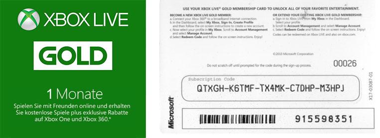 Xbox 360 Live Gold 1 Monat Card Kaufen, Xbox 1 Monat